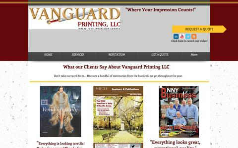 Screenshot of Testimonials Page vanguardprintingllc.com - Vanguard Printing|Catalog Printer|Magazine Printer - captured June 11, 2017