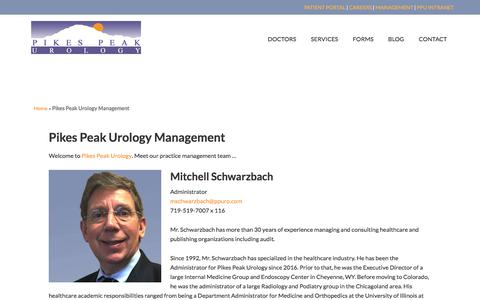 Screenshot of Team Page ppuro.com - Management Contact Information for Pikes Peak Urology - captured Aug. 2, 2017