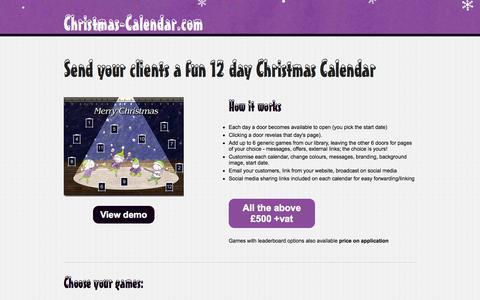 Screenshot of Home Page christmas-calendar.com - Christmas Calendar | Online Advent Calendar | Christmas Marketing | Game Advent Calendar - captured Sept. 12, 2015