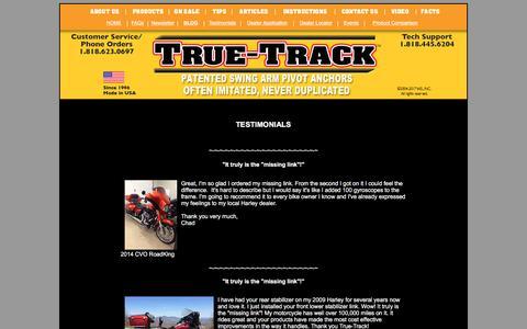 Screenshot of Testimonials Page true-track.com - The Original True-Track - captured Feb. 10, 2018