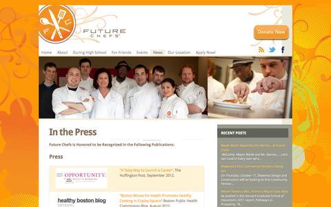 Screenshot of Press Page futurechefs.net - In the Press | Future Chefs - captured Sept. 30, 2014
