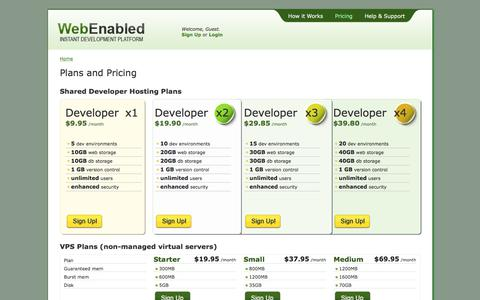 Screenshot of Pricing Page webenabled.com - WebEnabled (beta) | Plans and Pricing - captured July 12, 2018
