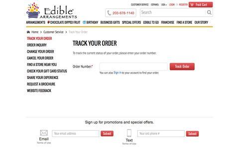 Screenshot of Support Page ediblearrangements.com - Customer Service | Track Your Order Edible Arrangements Order - captured Sept. 18, 2014