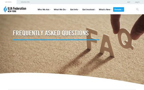 Screenshot of FAQ Page ujafedny.org - Frequently Asked Questions » UJA-Federation of New York - captured Sept. 24, 2018