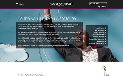 Screenshot of houseoffraser.co.uk - Development | House of Fraser Careers - captured Sept. 16, 2017