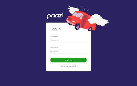 Screenshot of Login Page paazl.com captured July 13, 2018