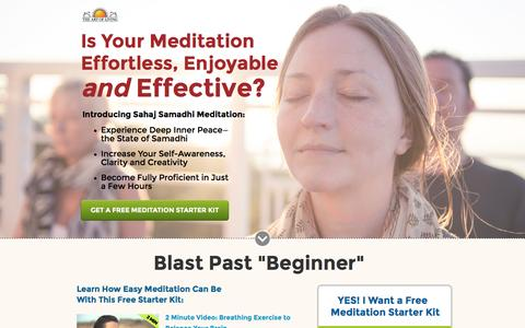Screenshot of Landing Page artofliving.org - Meditation for Beginners - Learn How to Meditate - captured Jan. 1, 2017