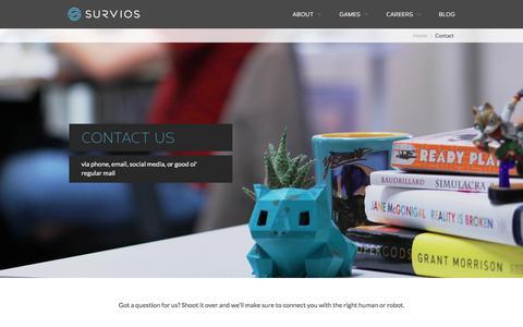 Screenshot of Contact Page survios.com - Contact - Survios - captured Dec. 8, 2019