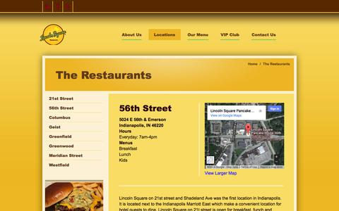 Screenshot of Locations Page eatatlincolnsquare.com - The Restaurants - Lincoln Square Pancake House and Restaurant - captured Oct. 8, 2014