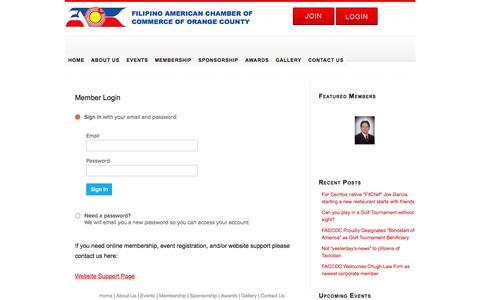 Screenshot of Menu Page faccoc.org - Member Login - captured Sept. 25, 2015