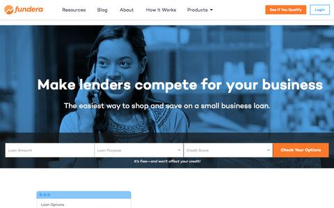 Screenshot of Home Page fundera.com - Fundera | Small Business Loans Made Easy - captured July 4, 2016