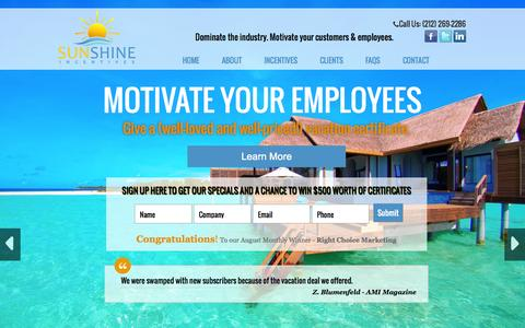 Screenshot of Home Page sunshineincentives.com - Sunshine Incentives a Most Effective Business Sales Marketing Incentive - captured Oct. 1, 2014