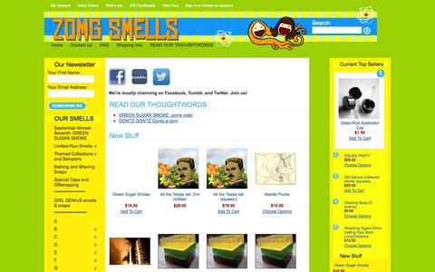 Screenshot of Home Page zomgsmellsshop.com - ZOMG Smells: fine nerdy scents for fine nerdy people - captured Oct. 7, 2014