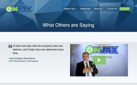 Screenshot of Testimonials Page onjax.com - Onjax Real Estate Technology - captured Oct. 20, 2018