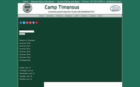 Screenshot of Blog camptimanous.com - Blog - Camp Timanous - captured July 18, 2015