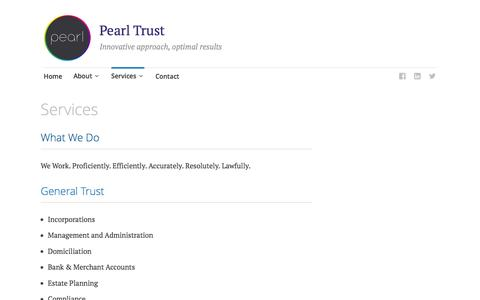 Screenshot of Services Page pearl-trust.com - Services - Pearl Trust - captured Jan. 26, 2016
