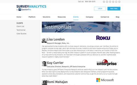 Screenshot of Testimonials Page surveyanalytics.com - Testimonials - captured Oct. 20, 2015