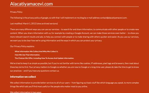Screenshot of Privacy Page alacatiyamacevi.com - Contact. Page on Contactalacatiyamacevi.com - captured Nov. 24, 2018