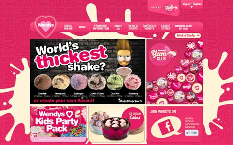 Screenshot of Home Page wendys.com.au - Wendys, Ice Cream Cakes, Ice Cream, Hot Dogs, Shakes, Smoothies, YumClub & Yum - captured Oct. 4, 2014