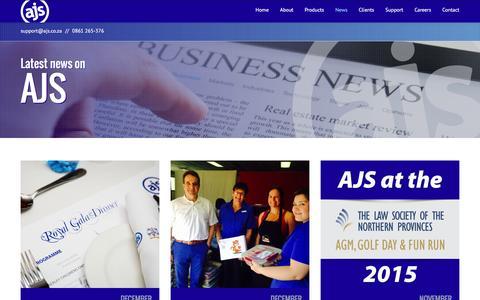 Screenshot of Press Page ajs.co.za - AJS - News - captured Jan. 20, 2016
