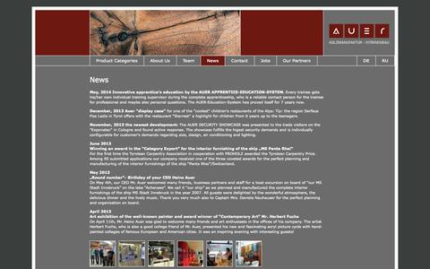 Screenshot of Press Page auer-hm.at - Auer carpentry - News - joinery, project management - captured Oct. 2, 2014