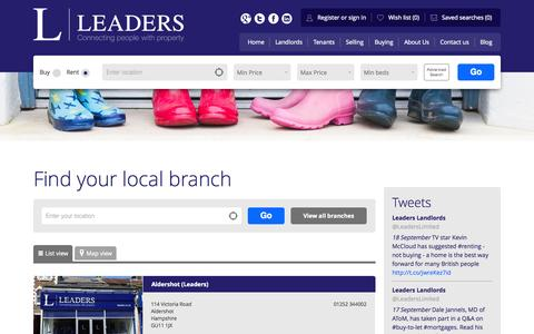 Screenshot of Contact Page leaders.co.uk - Leaders branch list - captured Sept. 19, 2014