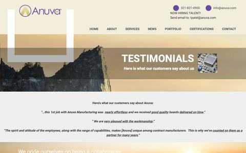 Screenshot of Testimonials Page anuva.com - What customers say about Anuva good quality on time delivery - captured Nov. 6, 2018