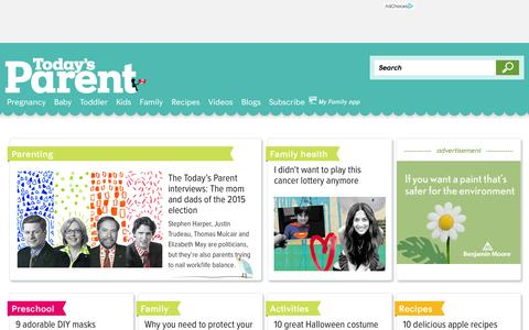 Screenshot of Home Page todaysparent.com - Today's Parent - Pregnancy, baby, toddler advice for Canadian parents - captured Oct. 2, 2015