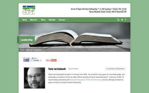 Screenshot of Team Page acresofhope.net - Leadership - Acres of Hope Christian Fellowship - captured Oct. 4, 2014