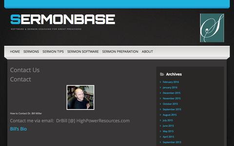 Screenshot of Contact Page sermonbase.com - Contact Us | SermonBase - captured Feb. 26, 2016