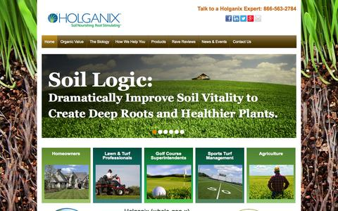 Screenshot of Home Page holganix.com - Holganix - Bionutrient, Organic Lawn Care Products for distributors and lawn care companies - captured Nov. 6, 2015