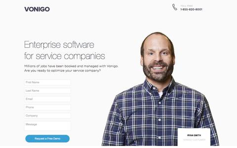 Screenshot of Landing Page vonigo.com captured Dec. 16, 2016