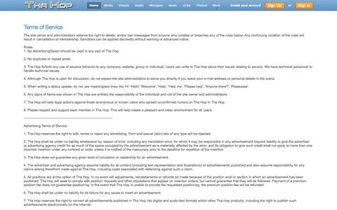Screenshot of Terms Page thahop.com - Terms of Service - captured Oct. 26, 2014