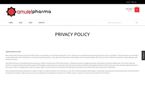 Screenshot of Privacy Page amuletpharma.com - Privacy Policy - - captured Dec. 6, 2016