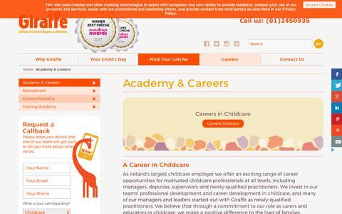 Screenshot of Jobs Page giraffe.ie - Childcare Career Advice - Giraffe Childcare Training Academy - captured Sept. 28, 2018