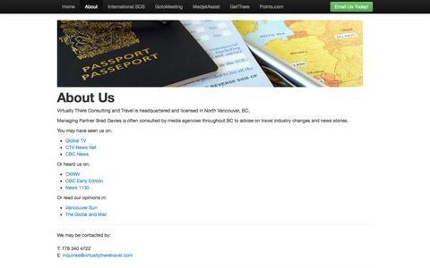 Screenshot of About Page virtuallytheretravel.com - Virtually There Travel - captured Oct. 1, 2014