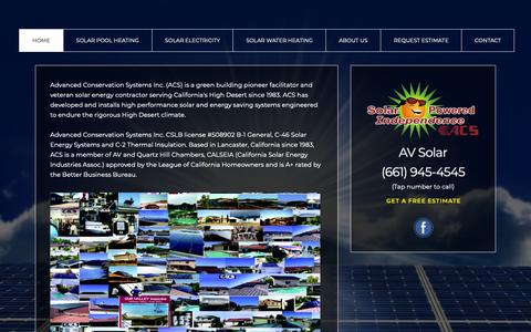 Screenshot of About Page avsolar.com - Solar Powered Independence by ACS - captured Oct. 3, 2018