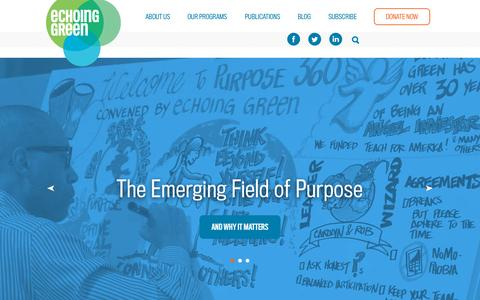 Screenshot of Home Page echoinggreen.org - Echoing Green | Unleashing next generation talent to solve the world's biggest problems. - captured Oct. 1, 2015