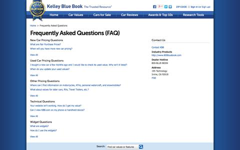 Screenshot of FAQ Page kbb.com - FAQs - Frequently Asked Questions - Kelley Blue Book - captured Oct. 23, 2014