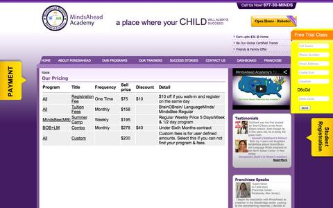 Screenshot of Pricing Page mindsahead.com - Our Pricing - captured Oct. 27, 2014