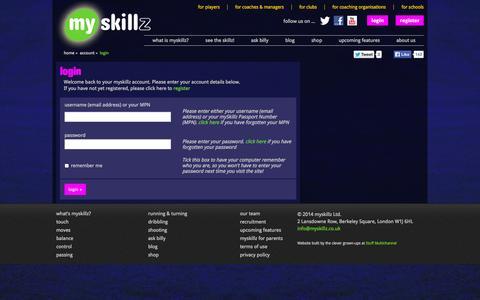 Screenshot of Login Page myskillz.co.uk - myskillz| football drills for children| football skills rating system|  | Account | Login - captured Oct. 7, 2014