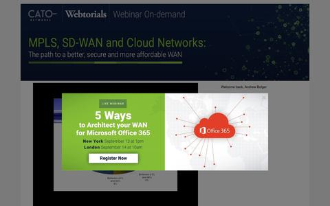 Screenshot of Landing Page catonetworks.com - WEBINAR   MPLS, SD-WAN, and Cloud Networks - captured Sept. 11, 2017