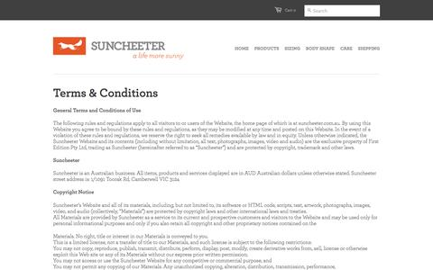 Screenshot of Terms Page suncheeter.com.au - Terms & Conditions - Suncheeter - wearable sunblock! - captured Oct. 7, 2014