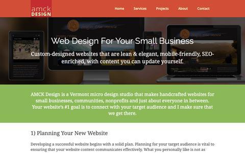 Screenshot of Services Page amckwebandprint.com - Websites for Small Businesses-AMCK Web and Print Design-Vermont - captured Oct. 2, 2018