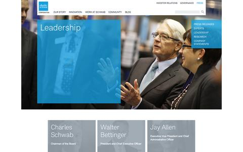 Screenshot of Team Page aboutschwab.com - Leadership | About Schwab - captured Nov. 5, 2014
