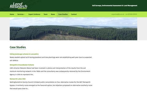 Screenshot of Case Studies Page lra.co.uk - Land Research Associates :: Case Studies - captured Sept. 26, 2018