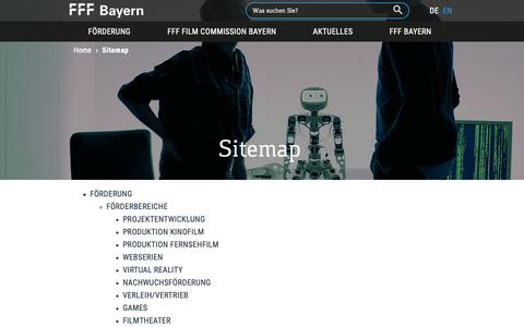 Screenshot of Site Map Page fff-bayern.de - Sitemap - captured Oct. 10, 2018
