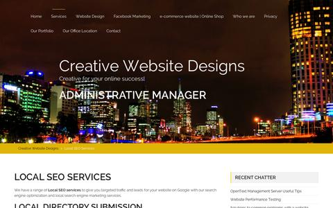 Screenshot of Services Page creativewebsitedesigns.com.au - Local SEO Services | SEO Services Melbourne | SEO Experts - captured Feb. 1, 2016
