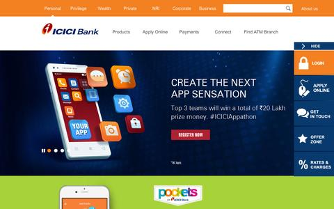 Screenshot of Home Page icicibank.com - Personal Banking, Online Banking Services - ICICI Bank - captured Feb. 17, 2016