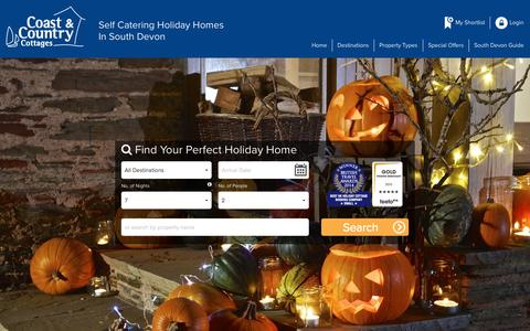 Screenshot of Home Page coastandcountry.co.uk - Self Catering Holiday Cottages Exclusively in South Devon - captured Oct. 8, 2015